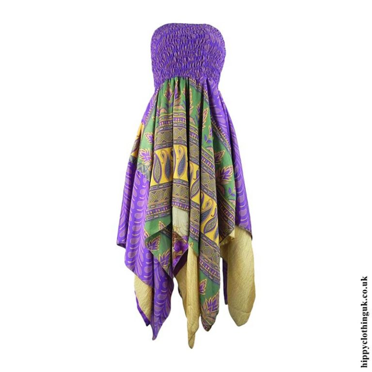 Purple-Recycled-Sari-Pixie-Hem-Hippy-Dress-Skirt