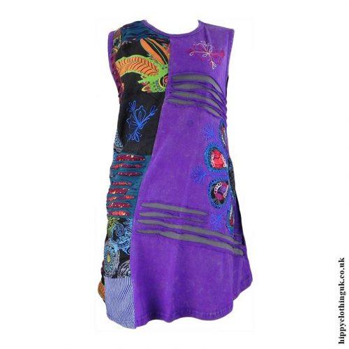 Purple-Short-Embroidery-Patchwork-Hippy-Dress