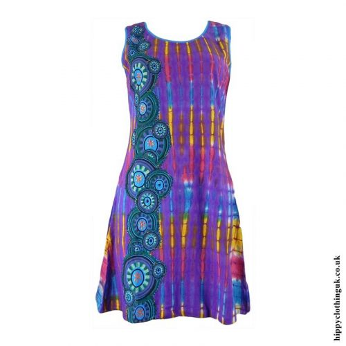 Purple-Short-Tie-Dye-Circle-Print-Hippy-Dress