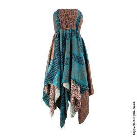 Teal-Recycled-Sari-Pixie-Hem-Hippy-Dress-Skirt