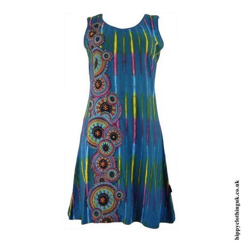 Teal-Short-Tie-Dye-Circle-Print-Hippy-Dress