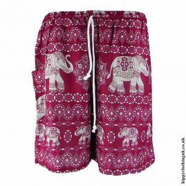 Thai-Male-Hippy-Rayon-Long-Shorts-Burgundy