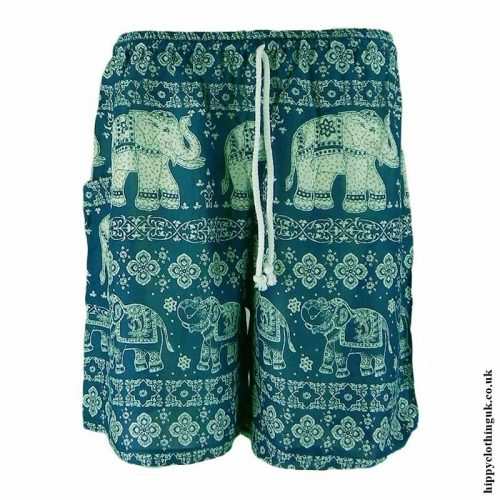 Thai-Male-Hippy-Rayon-Long-Shorts-Teal
