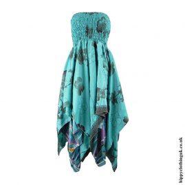 Turquoise-Recycled-Sari-Pixie-Hem-Hippy-Dress-Skirt