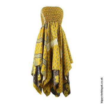 Yellow-Recycled-Sari-Pixie-Hem-Hippy-Dress-Skirt