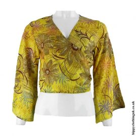 Yellow-Recycled-Sari-Wrap-Crop-Top-Shrug