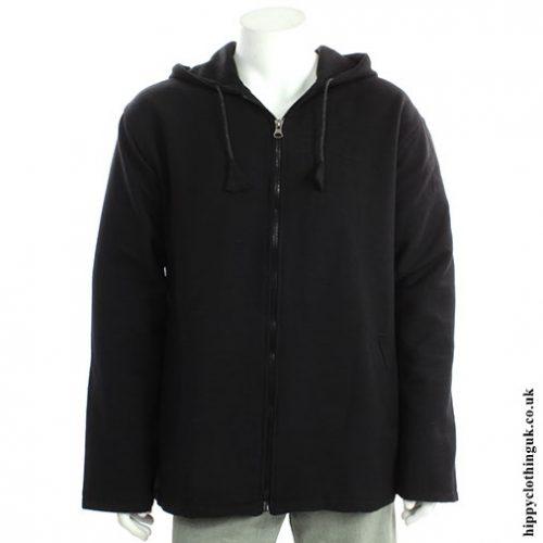 Black Cotton Fleece Lined Jacket