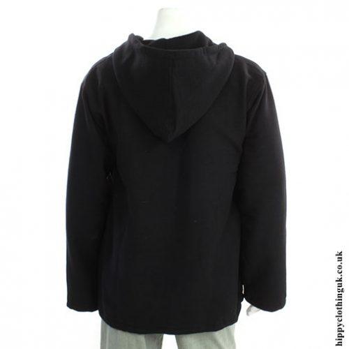 Black Cotton Fleece Lined Jacket Back