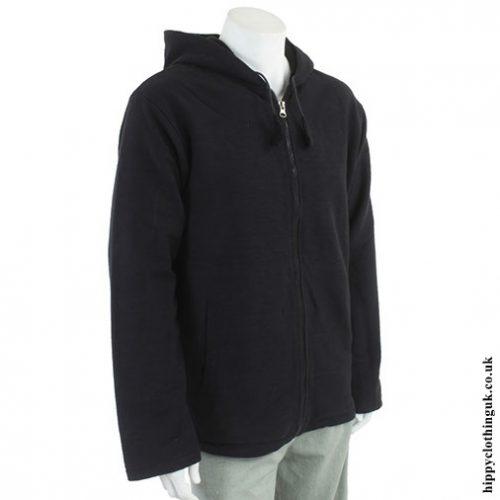 Black Cotton Fleece Lined Jacket Side