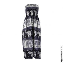 Black-Elephant-Print-Rayon-Maxi-Dress