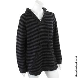 Black & Grey Striped Alpaca & Acrylic Wool Mix Hooded Jumper