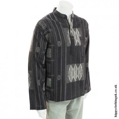 Black Patterned Grandad Shirt