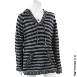 Black & White Striped Alpaca & Acrylic Wool Mix Hooded Jumper