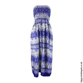 Blue-Elephant-Print-Rayon-Maxi-Dress