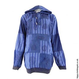 Blue-Over-dyed-Patchwork-Hooded-Hippy-Shirt