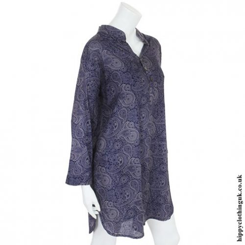 Blue Paisley Tunic Side