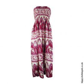 Burgundy-Elephant-Print-Rayon-Maxi-Dress