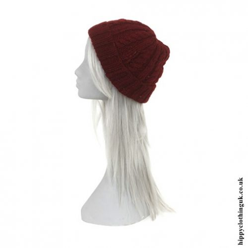Burgundy Fleece Lined Cable Knit Hat