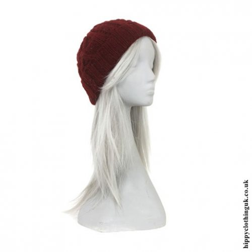 Burgundy Fleece Lined Cable Knit Hat Side