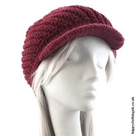 Burgundy Knitted Woollen Hat