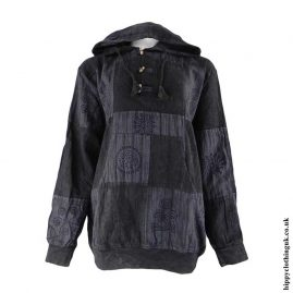 Charcoal-Over-dyed-Patchwork-Hooded-Hippy-Shirt