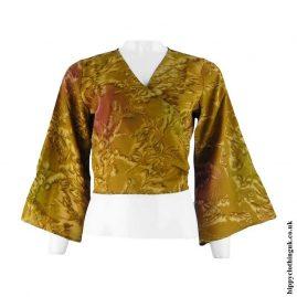 Golden-Recycled-Sari-Wrap-Crop-Top-Shrug