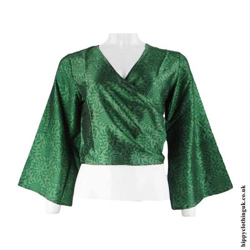 Green-Recycled-Sari-Wrap-Crop-Top-Shrug