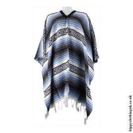 Mexican-Thick-Weave-Poncho-Blue