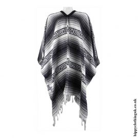 Mexican-Thick-Weave-Poncho-Grey