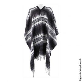 Mexican-Thick-Weave-Poncho-Grey-Brown