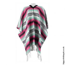 Mexican-Thick-Weave-Poncho-Pink