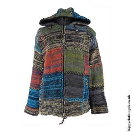 Multicoloured-Patchwork-Hooded-Wool-Hippy-Jacket