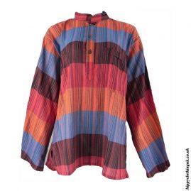 Multicoloured-Striped-Grandad-Shirt