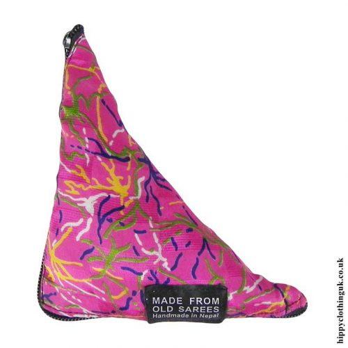 Pink-Recycled-Saree-Fold-Out-Hippy-Bag