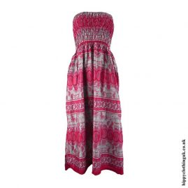 Red-Elephant-Print-Rayon-Maxi-Dress