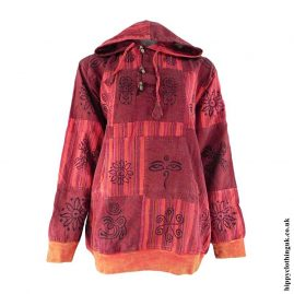 Red-Over-dyed-Patchwork-Hooded-Hippy-Shirt