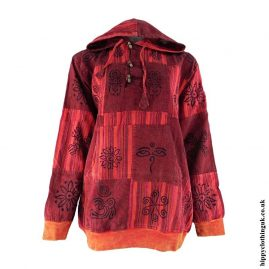 Red-Over-dyed-Patchwork-Hooded-Shirt