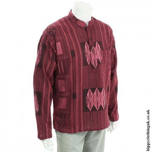 Red Patterned Grandad Shirt