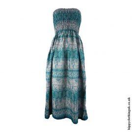 Teal-Elephant-Print-Rayon-Maxi-Dress