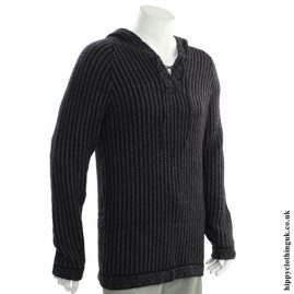 Black & Grey Acrylic & Alpaca Wool Jumper