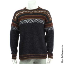 Charcoal Geometric Alpaca & Acrylic Wool Sweater