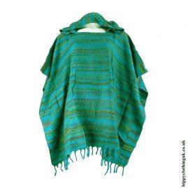 Green-Acrylic-Striped-Poncho-1