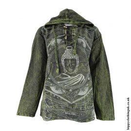 Green-Printed-Buddha-Hooded-Top