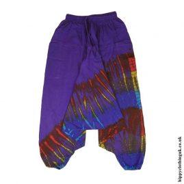 Purple-Multicoloured-Cotton-Hippy-Ali-Baba-Harem-Trousers