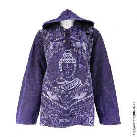 Purple-Printed-Buddha-Hooded-Top