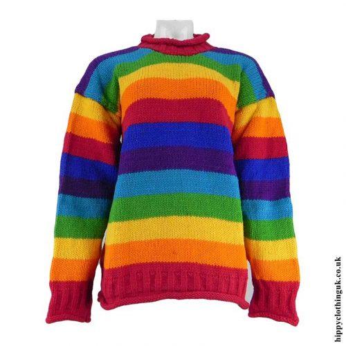 Rainbow-Striped-Hippy-Wool-Jumper