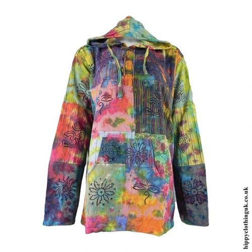 Tie-Dye-Patchwork-Hooded-Shirt