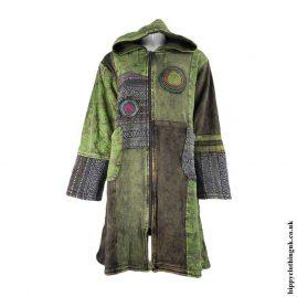 Green-Long-Fleece-Lined-Patchwork-Jacket