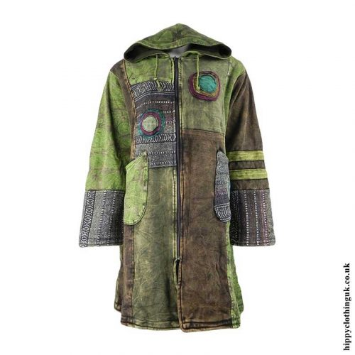 Green-Long-Fleece-Lined-Patchwork-Jacket