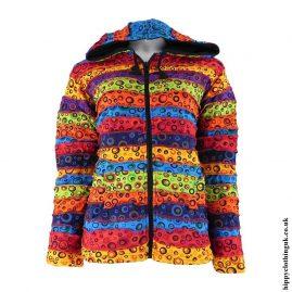 Multicoloured-Circles-Fleece-Lined-Hooded-Jacket